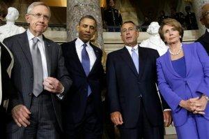 Barack Obama, Harry Reid, John Boehner, Nancy Pelosi