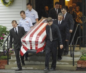 American fla draped coffin