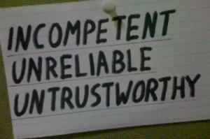 untrustworthy