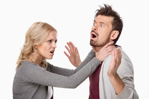 wife attackign husband